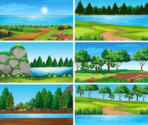 Scènes de nature de paysage vides et vierges Vecteur Premium