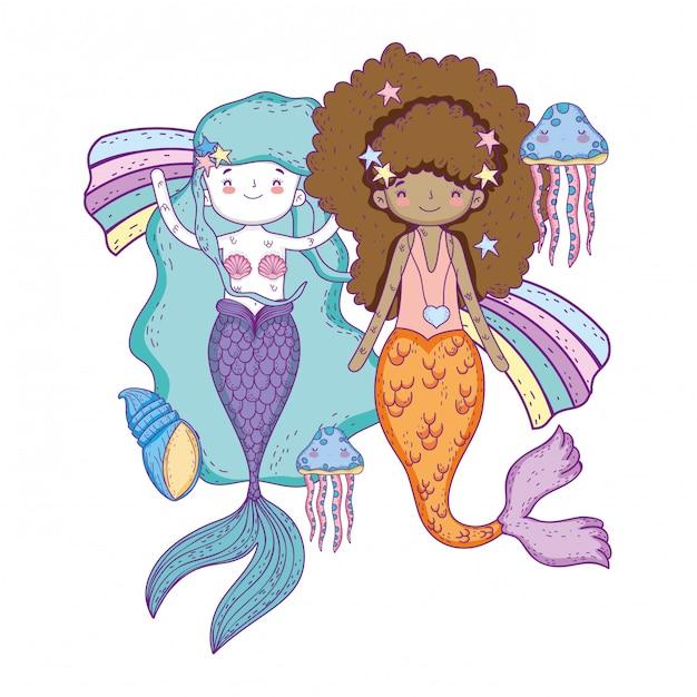 Scènes sous-marines de contes de fées mignonnes sirènes Vecteur Premium