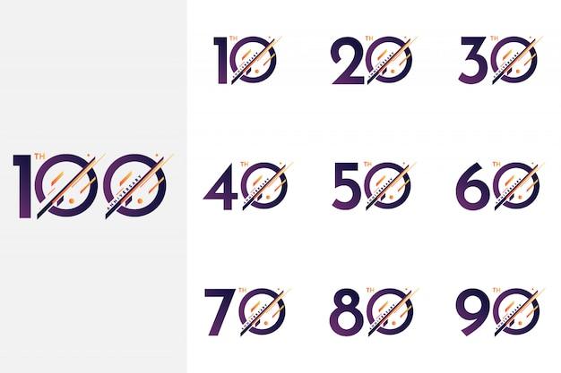 Scénographie Du 10 Au 100 E Anniversaire Vecteur Premium