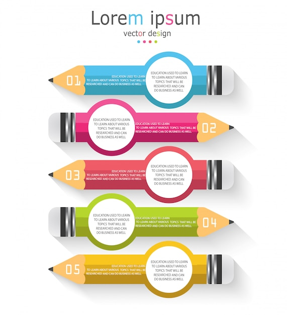 Schéma pour l'éducation et les affaires avec un crayon avec cinq options Vecteur Premium