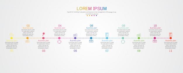 Schéma pour l'éducation et les affaires utilisé dans l'enseignement avec onze options Vecteur Premium