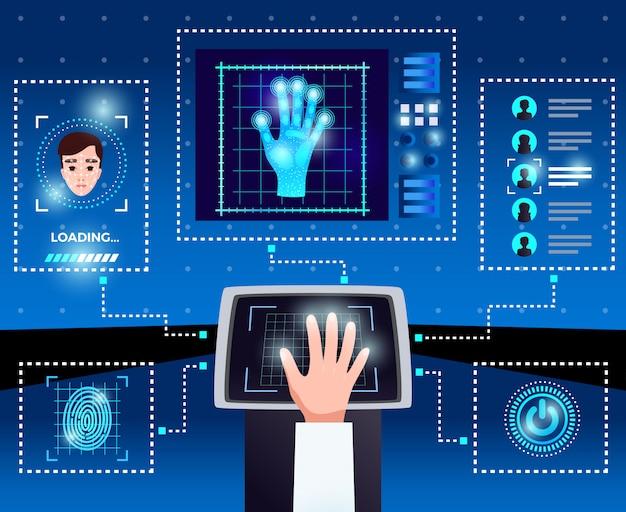 Schéma Des Technologies Informatiques D'identification Avec Interface Tactile Intégrée Pour Un Accès Sécurisé Des Utilisateurs Autorisés Fond Bleu Vecteur gratuit