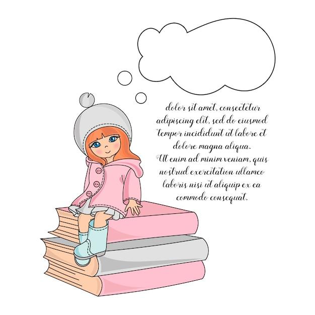 School girl color illustration set Vecteur Premium