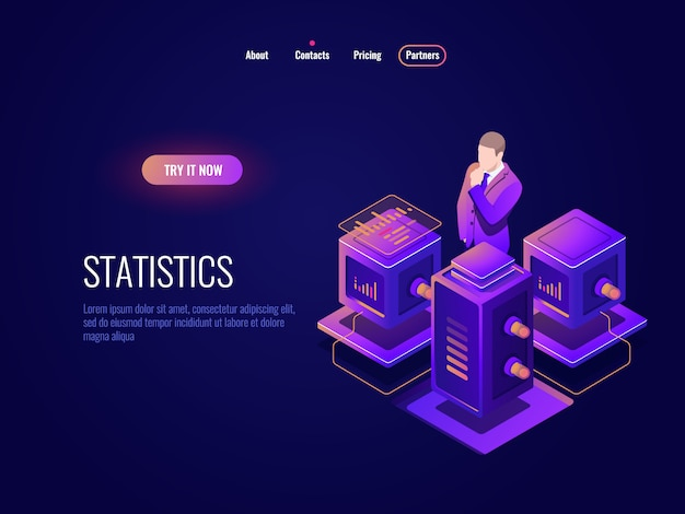 Science des données, icône isométrique pour le traitement de données volumineuses, concept de centre de données de base de données, informations sur les programmes Vecteur gratuit
