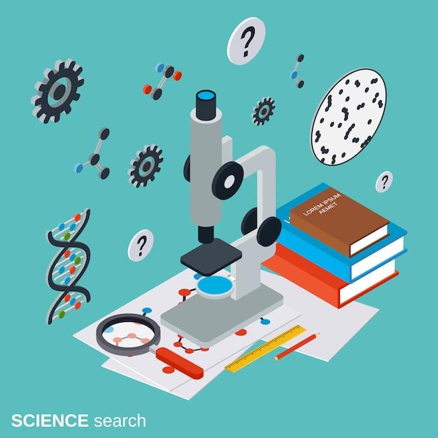 Science recherche illustration de concept de vecteur isométrique plat Vecteur Premium
