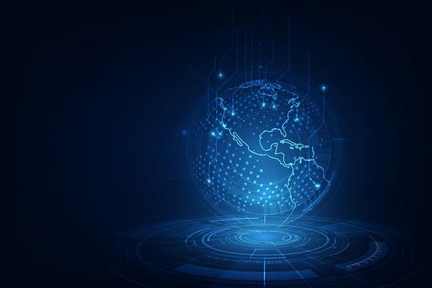 Science et technologie interface de la terre, scène de science-fiction, fond de technologie réseau bleu monde Vecteur Premium