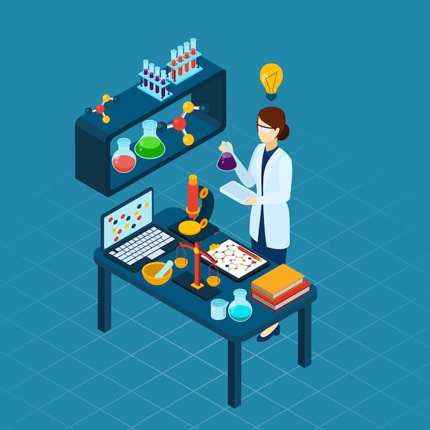 Scientifique au travail profession bannière isométrique Vecteur gratuit