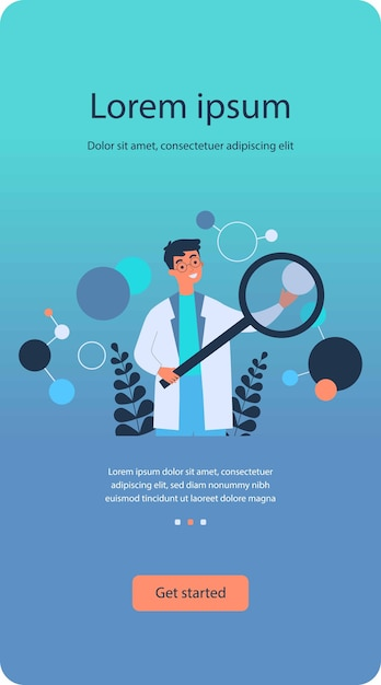 Scientifique En Blouse De Laboratoire Vérification De L'algorithme Plat Vecteur Premium