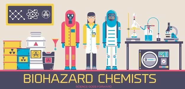 Scientifique Avec Deux Hommes En Tenue De Protection Environnementale Debout Au Laboratoire De Chimie Avec Des Outils. Vecteur Premium