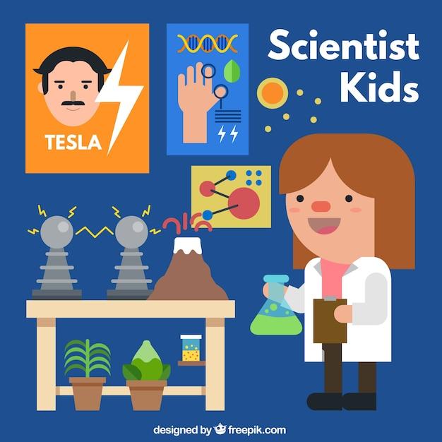 Scientifique fille avec des expériences scientifiques Vecteur gratuit