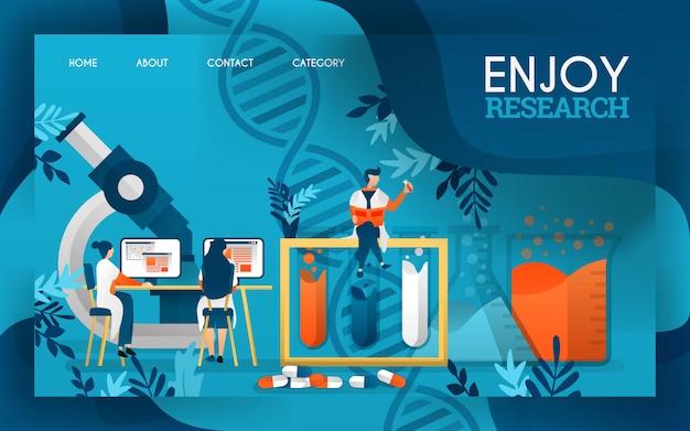 Les scientifiques apprécient le processus de recherche de médicaments et de substances liquides. Vecteur Premium