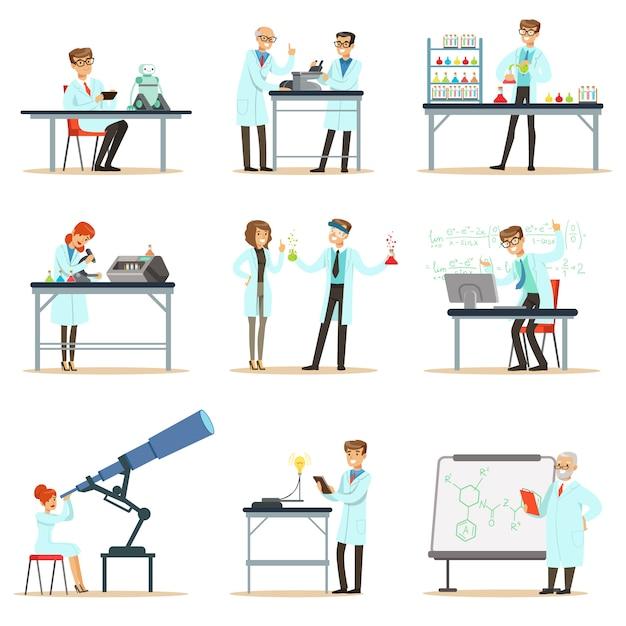 Scientifiques Au Travail Dans Un Laboratoire Et Un Ensemble De Bureaux De  Personnes Souriantes | Vecteur Premium