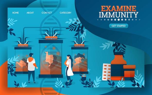 Les scientifiques examinent et examinent le système immunitaire du corps humain. Vecteur Premium