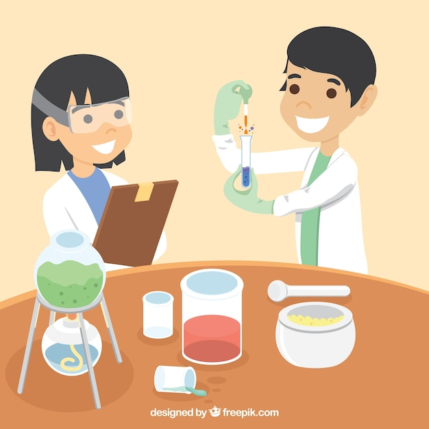 Scientifiques heureux dans un laboratoire Vecteur gratuit