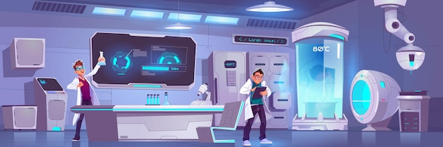 Des Scientifiques En Laboratoire Conduisent Une Expérience, Des Hommes De Recherche Scientifique En Cryonie Ou En Laboratoire De Chimie Vecteur gratuit