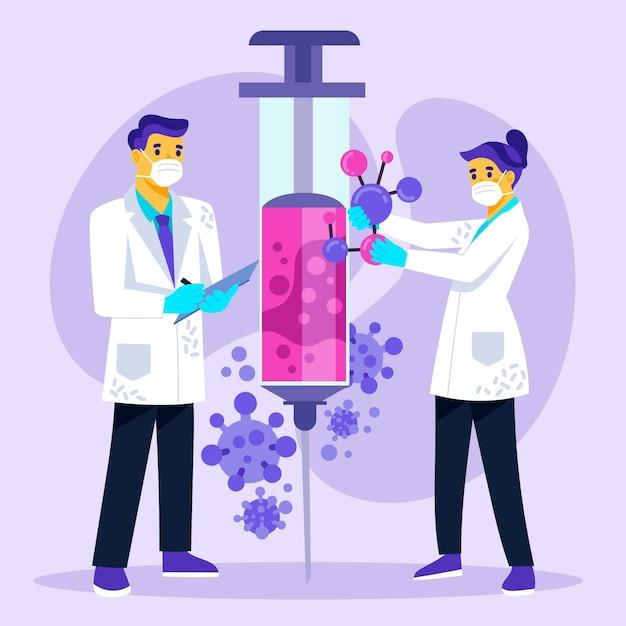 Scientifiques Travaillant Sur La Création D'un Vaccin Covid-19 Vecteur gratuit