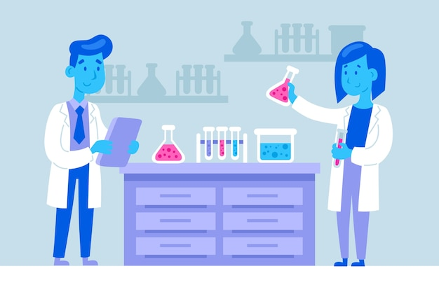 Scientifiques Travaillant Avec Des éléments Chimiques Vecteur gratuit