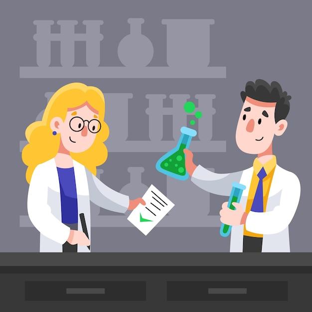 Scientifiques Travaillant Ensemble Pour Une Formule Vecteur gratuit