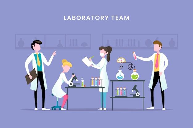 Scientifiques Travaillant En équipe De Laboratoire Vecteur gratuit