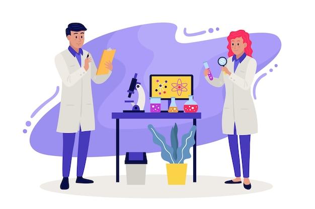 Scientifiques Travaillant Vecteur gratuit