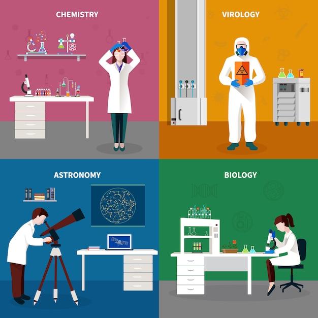 Scientists people concept set Vecteur gratuit
