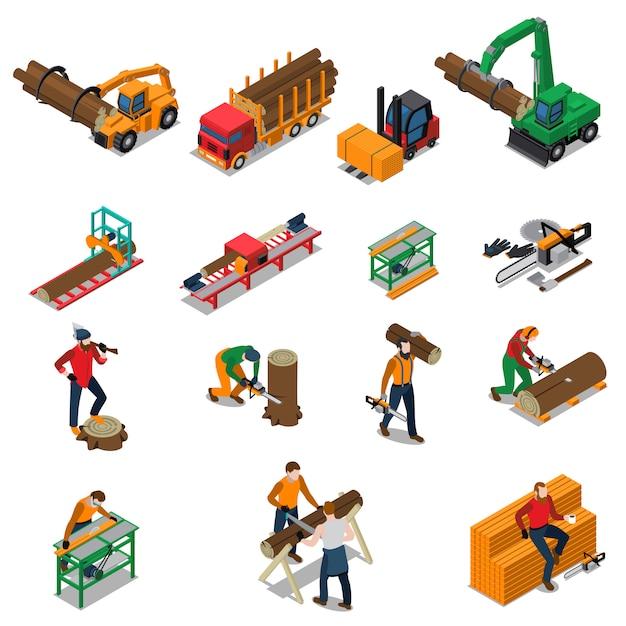 Scierie lumberjack icon set Vecteur gratuit