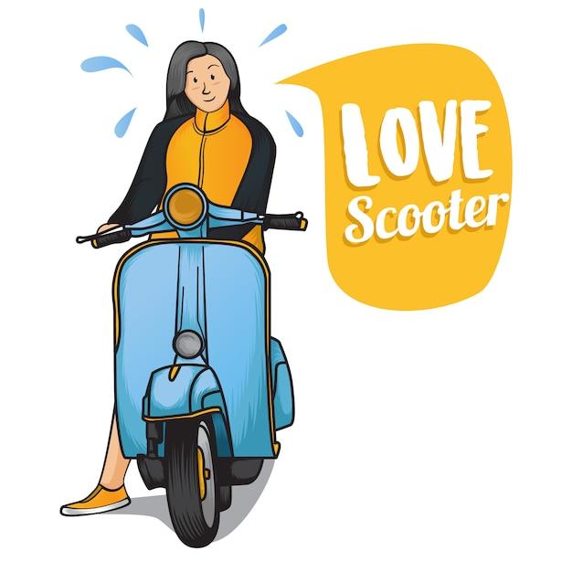 Scooter d'amour Vecteur Premium