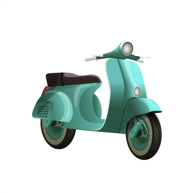 Scooter bleu turquoise vintage isolé sur fond blanc Vecteur Premium