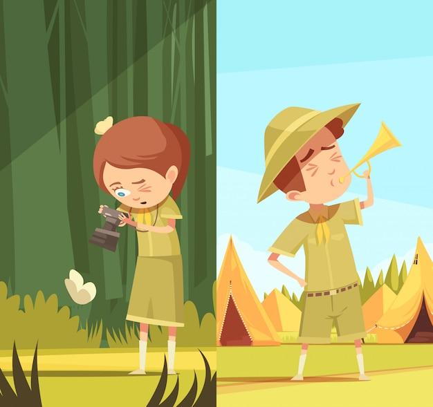 Scouts activités cartoon banners set Vecteur gratuit