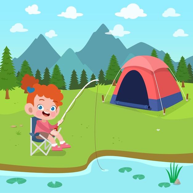 Scouts d'enfants au camp illustration Vecteur Premium