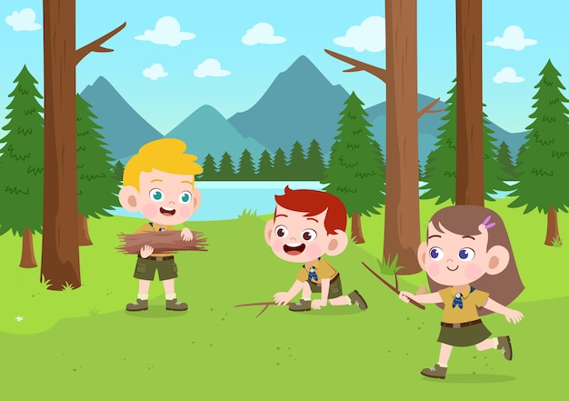 Scouts d'enfants au camp illustration Vecteur Premium