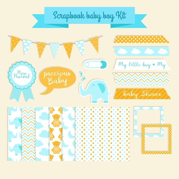 Scrapbook kit de douche de bébé Vecteur gratuit