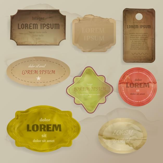 Scrapbooking éléments illustration de chutes de papier vintage pour les cadres, étiquettes ou modèles d'étiquettes Vecteur gratuit