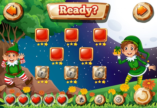 Screen illustration de jeu vidéo avec des elfes Vecteur gratuit