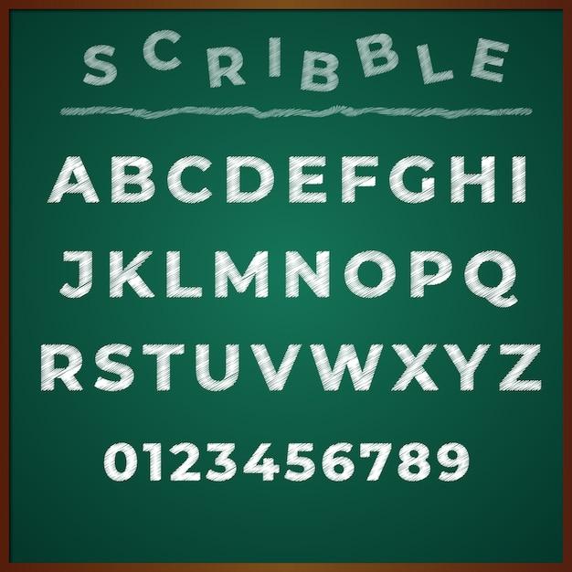 Scribble polices alphabet main dessin vectoriel Vecteur Premium