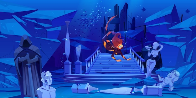 Scuba Diver Explore La Ville Engloutie Au Fond De La Mer. Femme Flottant Au-dessus De L'épave Des Colonnes De L'ancienne Architecture Ancienne Et Des Statues Brisées Dans Le Monde Sous-marin. Dessin Animé. Vecteur gratuit