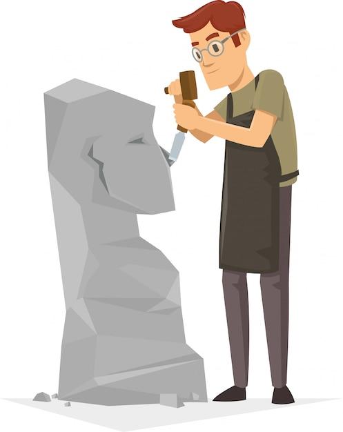 Un sculpteur dans un concours de burin de classe mondiale Vecteur Premium