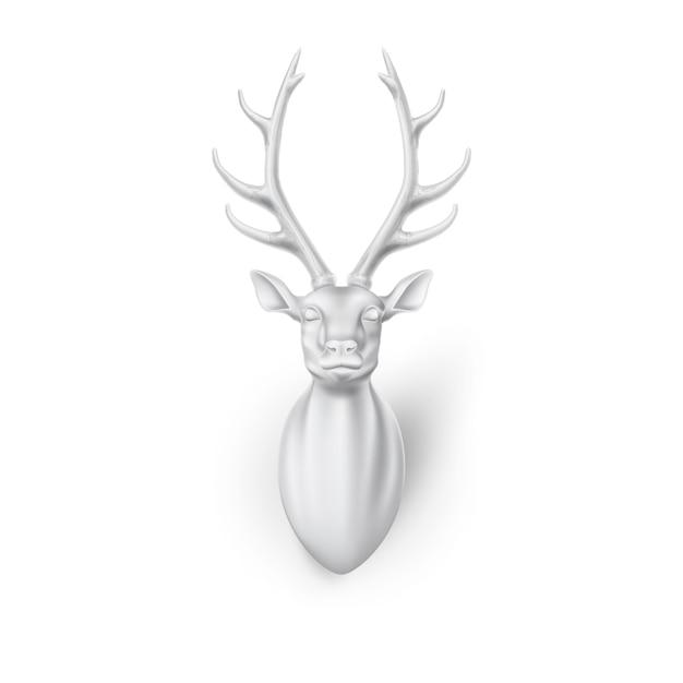 Sculpture Tête De Cerf 3d Avec Des Cornes Vecteur Premium