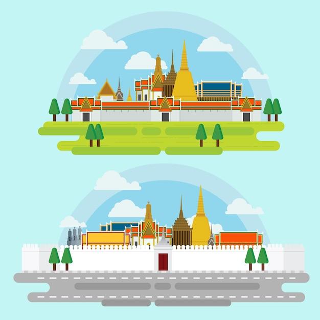 Se déplacer à bangkok points de repère architecture design illustration vecteur. Vecteur Premium