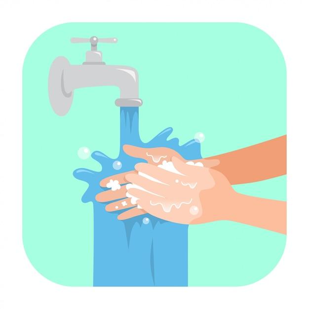 Se laver les mains avec du savon Vecteur Premium