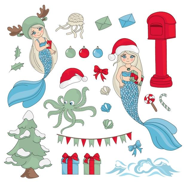 Sea christmas new year color illustration set Vecteur Premium