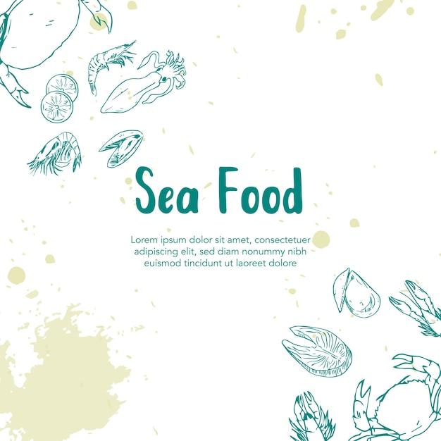 Sea food illustration dessinée à la main Vecteur Premium