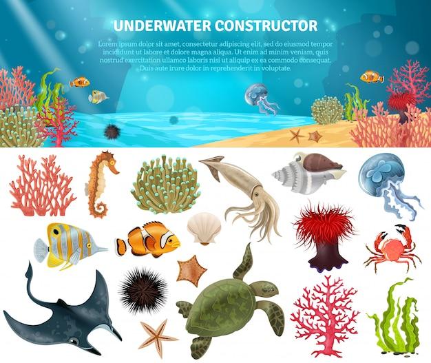 Sea life constructeur isolé icons set Vecteur gratuit