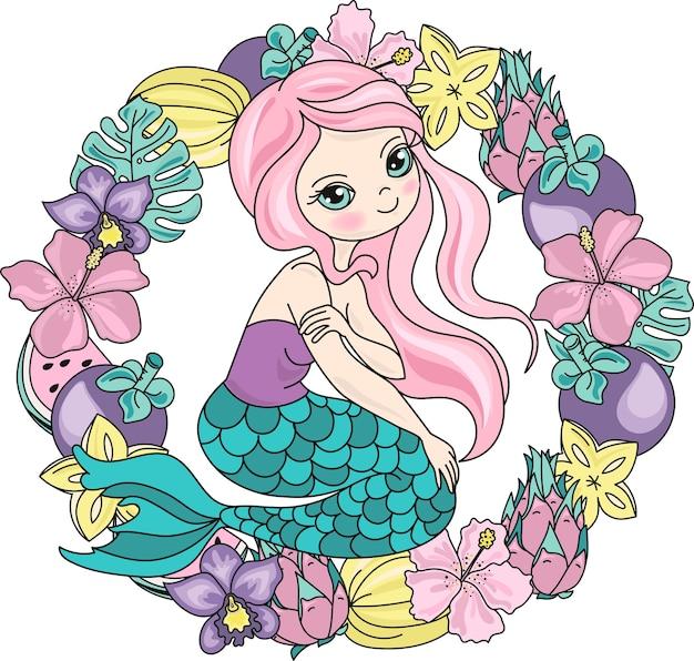 Sea travel clipart couleur vector illustration set mermaid fruits Vecteur Premium