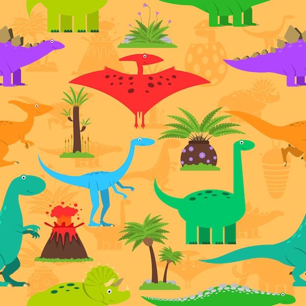 Seamless pattern de dinosaures Vecteur gratuit
