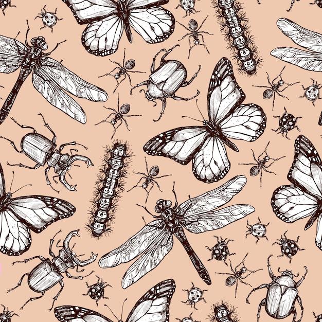 Seamless pattern d'insectes dessinés vintage Vecteur Premium