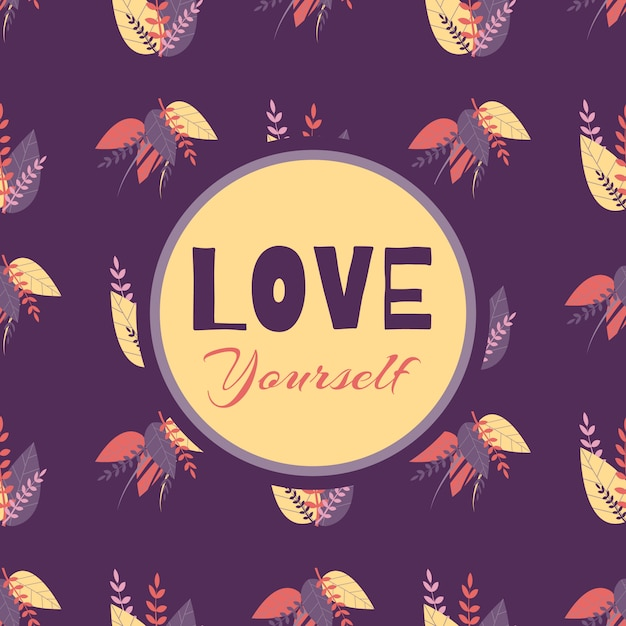 Seamless Pattern Love Yourself Motiver Lettrage Vecteur gratuit