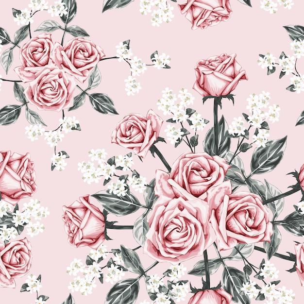 Seamless pattern rose rose fond de fleurs vintage Vecteur Premium