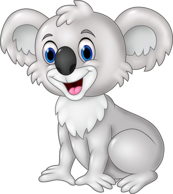 Seance De Koala Drole De Dessin Anime Isole Sur Fond Blanc Vecteur Premium