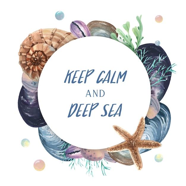Seashell guirlande vie marine voyage estival sur la plage Vecteur gratuit